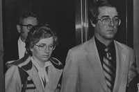 Candace Montgomery and her husband, Pat, leave an elevator in the Collin County Courthouse in McKinney after her 1980 trial for the murder of Betty Gore earlier that year was turned over to the jury. After three hours of deliberations, the jury acquitted Montgomery, who claimed the killing was in self-defense.(File 1980 - Staff Photo)