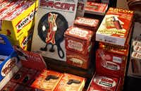 The bacon section of Atomic Candy is a favorite of customers at the Denton shop.