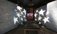 The Johnny Cash Museum in Nashville, TN, includes a small gallery with panels bearing the lyrics of ÒThe Ragged Old Flag,Ó rows of benches and a video of CashÕs patriotic concert appearances.