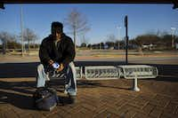 Victor Amaro waits for the DART bus on his way home from work in Irving. Amaro, who lives and works in Irving, takes the bus every day to and from work. Dr. Caroline Brettell, a professor of anthropology at Southern Methodist University, said most jobs in the growing metropolitan area are now located away from the Dallas city core, along places like Highway 114 in Irving, the corporate offices edging the Dallas North Tollway in Collin County, and in upscale suburbs like Southlake.