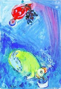 """Marc Chagall, """"Circus Scene,"""" watercolor and gouache on paper.Collection of Nancy Lee and Perry Bass"""