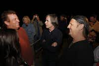 From left to right, Kelcy Warren, CEO of Energy Transfer Partners, Jackson Browne and Jimmy LaFave, a musician, chat each other in the backstage after Jackson's show during the Cherokee Creek Music Festival in Cherokee, TX on May 14, 2011 This fifth annual festival is to benefit children's medical charities in Dallas. ( Kye R. Lee / The Dallas Morning News )
