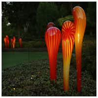 Chihuly's Tiger Lillies are illuminated for Chihuly Nights at the Dallas Arboretum. Photographed with a Canon 5D Mark III.Tom Fox