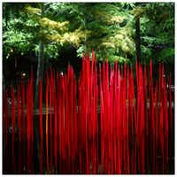 Red Reeds are illuminated during Chihuly Nights at the Dallas Arboretum. Photographed with a Canon 5D Mark III.Tom Fox
