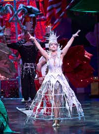A performer dressed as the Ice Queen performs during the opening scene during a performance of 'Cirque Dreams Holidaze' at the Winspear Opera House in Dallas, Tuesday, December 18, 2012.