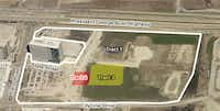 The cinema complex and temporary parking lots would occupy three tracts just south of the Bush Turnpike. (City of Richardson)