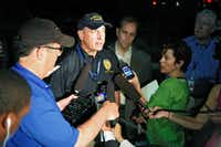 Aurora Police Chief Daniel Oates talks to media at the Aurora Mall where as many as 14 people were killed and many injured at a shooting at the Century 16 movie theatre in Aurora, Colo., Friday, July 20, 2012.
