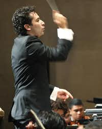 Andrés Orozco-Estrada, the new music director of the Houston Symphony, led the Colombian Youth Philharmonic on Thursday at the Meyerson Symphony Center.( Ron Baselice  -  Staff Photographer )