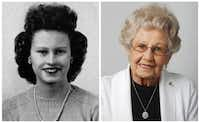 Conjetta Lanza in her 1943 senior class picture and today.