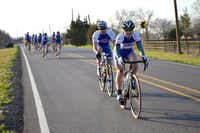 A group from the Rockwall Cycling shop rides on Farm Road 550 in McLendon-Chisholm on Saturday. Cities in the Rockwall area are adjusting their master plans to make communities more bicycle-friendly. Read more on Page 10.