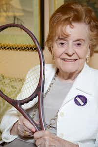 Nancy Jeffett, wearing her Wimbledon membership pin, was inducted into the International Tennis Hall of Fame for her behind-the-scenes work to advance the cause of women's tennis around the world.( Brandon Wade  -  Special Contributor )