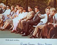 An old photo shows Nancy Jeffett (third from left) attending a tennis match with President Ronald Reagan (fifth from right). Jeffett was inducted into the International Tennis Hall of Fame for her behind-the-scenes work to advance the cause of women's tennis around the world.( Brandon Wade  -  Special Contributor )
