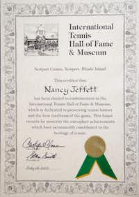 Nancy Jeffett's International Tennis Hall of Fame induction certificate hangs at her home in Dallas.( Brandon Wade  -  Special Contributor )