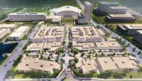 This rendering from O'Brien Architects offers a look at the finished development for a portion of The Star in Frisco, a joint venture of the city, Frisco ISD and the Dallas Cowboys.
