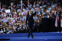 President Barack Obama waves to the crowd after addressing the 2012 Democratic National Convention in Charlotte, Thursday, September 6, 2012.(Tom Fox)