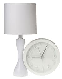 Well timed: Room Essentials Wall Clock is $6.99 at Target. Mainstays 7-inch-tall table lamp is $13.97 at Wal-Mart and walmart.com.Evans Caglage - Staff Photographer