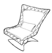 InOut 109 Rocking Chair by Gervasoni, lacquered iron frame with electro-welded wire mesh seat and back and cushions in polyurethane foam, $1,900, Scott + Cooner, 214-748-9838, scottcooner.com