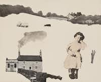 Roger Winter England #12: Landscape with Dreaming Child, 1974, photo montage