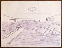 Donald Expose drew this scene of the inside of his home at age 12, photographed July 2, 2013. This is one of the drawings he made while waiting at the Superdome in New Orleans for evacuation. Expose was a Katrina victim and was evacuated to Houston at age 12. He eventually found a home in Dallas.