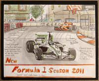Donald Expose's illustration of a Formula 1 race, photographed July 2, 2013. Expose was a Katrina victim and was evacuated to Houston at age 12. He eventually found a home in Dallas.