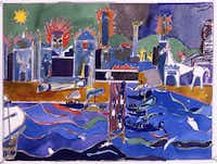 Romare Bearden's The Fall of Troy, 1977 Watercolor and graphite on paper