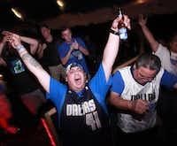Kevin Perez celebrates the Mavericks game at Granada Theater in Dallas, TX, on June 12, 2011.