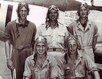 Tom Faulkner (top left) took flight training in Uvalde, Texas, before flying missions in Europe during World War II.