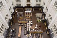 A bird's-eye view of the hotel's atrium.