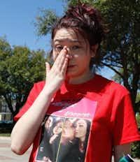 Julianna Saldivar, 16, talks about her boyfriend, Jose Cruz. (David Woo/Staff Photographer)