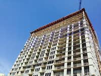 StreetLights Residential has completed structural work on its 23-story high-rise off McKinney Avenue. (Steve Brown)