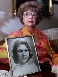 In 2002, Herlinda de la Vina  held a portrait of her niece Irene Garza, a teacher and beauty queen whose body was pulled from a McAllen irrigation canal in 1960.( Brad Doherty  - File Photo)