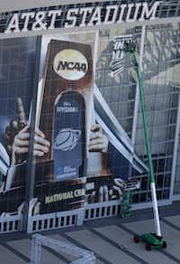 As AT&T Stadium gets gussied up for the Final Four, its sponsor can only gush about the marketing windfall it's enjoying from one of the nation's premier sporting events.Nathan Hunsinger  -  Staff Photographer