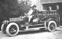 Fire Chief Ed McGoldrick took the wheel of Highland Park's first firetruck in 1914. The Fire Department's headquarters were on Drexel Drive, the same as the current location, along with Town Hall and the Police Department.