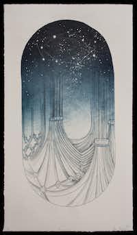 """Adam Rowlett : """"Firmament,"""" 2012  Lithograph  17.5Ó x 10Ó20"""