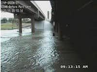 TXDoT cameras captured flooding under Interstate 635 at Park Central.