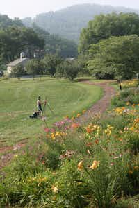 The North Carolina hills around Brasstown provide a scenic setting for students who take painting classes at John C. Campbell Folk School.