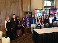 Cheryl Jennings with students who participated in the Irving-Las Colinas Rotary Club's Four-Way Speech Contest.(LAS COLINAS ROTARY CLUB )