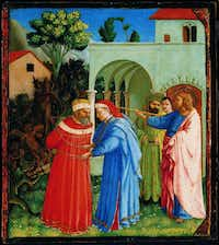 Fra Angelico (Fra Giovanni da Fiesole), Italian (c. 1395/1400–1455) The Apostle Saint James the Greater Freeing the Magician Hermogenes, c. 1426–29 Tempera and gold on panel; 10 9/16 x 9 3/8 in. (25.4 x 22.5 cm) Acquired in 1986