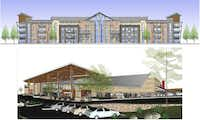 Preliminary plans show a mix of retail, commercial and apartment buildings designed in a Texas Hill Country style. (Rudman Partnership)
