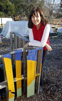 Carrie Dubberley came up with the idea of using wooden pallets to build storage areas at the community garden run by Community Unitarian Universalist Church in Plano.