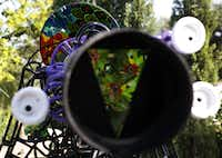 The view through the kaleidoscope at the new Rory Meyers Children's Adventure Garden at the Dallas Arboretum and Botanical Garden.