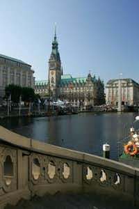 The Jungfernstieg area and the Rathaus in Hamburg, Germany. Chamber of commerce types brag that Hamburg has more bridges than Amsterdam and Venice combined.