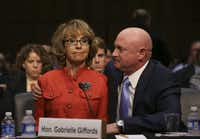 Former Rep. Gabrielle Giffords of Arizona, who survived an assassination attempt in 2011, spoke Wednesday at a hearing before the Senate Judiciary Committee, with her husband, Mark Kelly.