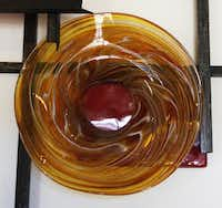 A sample of a rondel is on display at David Gappa Vetro Glass Blowing Studio in Grapevine.