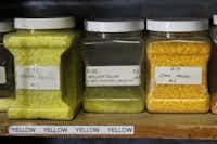 Colored powder is use in David Gappa studio in Grapevine to make glass art.