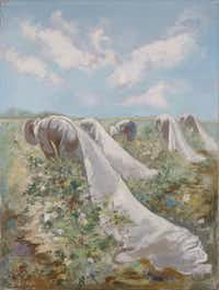 George Grosz, German Cotton Harvest, Dallas (Cotton Pickers), 1952  Oil on canvas  Overall: 38 3/8 x 29 1/4 in. (97.473 x 74.29 cm) Dallas Museum of Art, gift of A. Harris and Company in memory of Leon A. Harris, Sr. © Estate of George Grosz/Licensed by VAGA, New York, NY