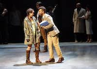 Elizabeth Judd as Eponine shared a scene with Justin Keyes as Marius in a rehearsal for Dallas Theater Center's 2014 production of Les Misérables.( File Photo  -  Staff  )