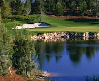 Hole 6 at The Wynn Las Vegas is a tricky par 3 over the lake. The secluded golf course is harbored between Wynn and Encore Luxuriant. Landscaping, meandering streams and strategic shrubbery buffered the tumultuous traffic outside.