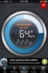 The Instant Heart Rate app for iPhone determines heart rate when you place a fingertip over your phone's camera lens.