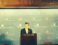 Rep. Jeb Hensarling, R-Dallas, speaks atthe Heritage Foundation last year. (Photo by Michael A. Lindenberger)